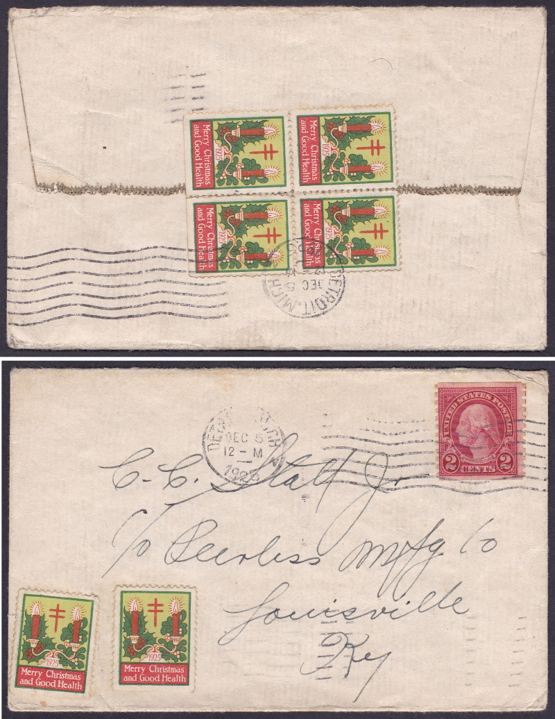 1925 type 2 Christmas Seal tied on cover