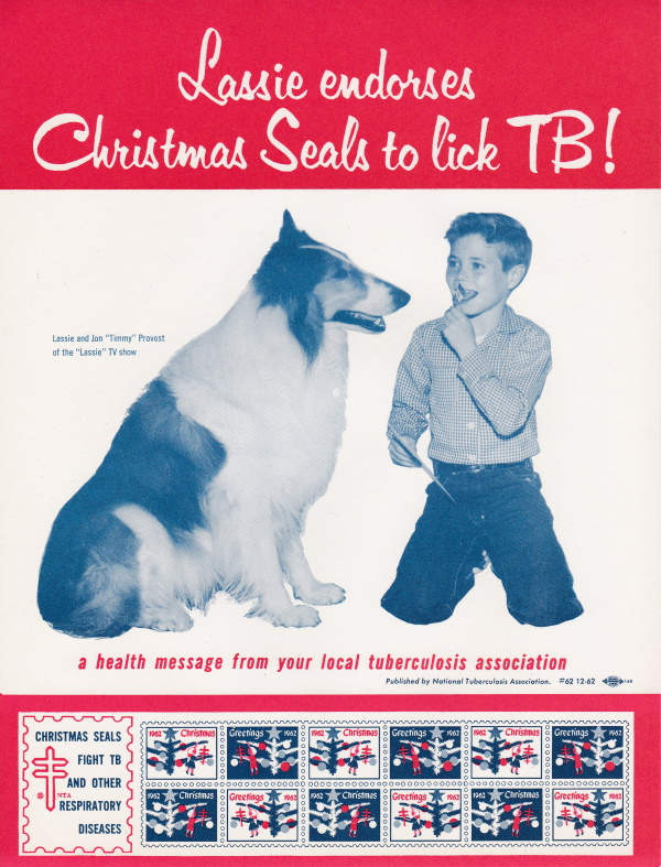 1962 Christmas Seal Poster with Lassie & Timmy