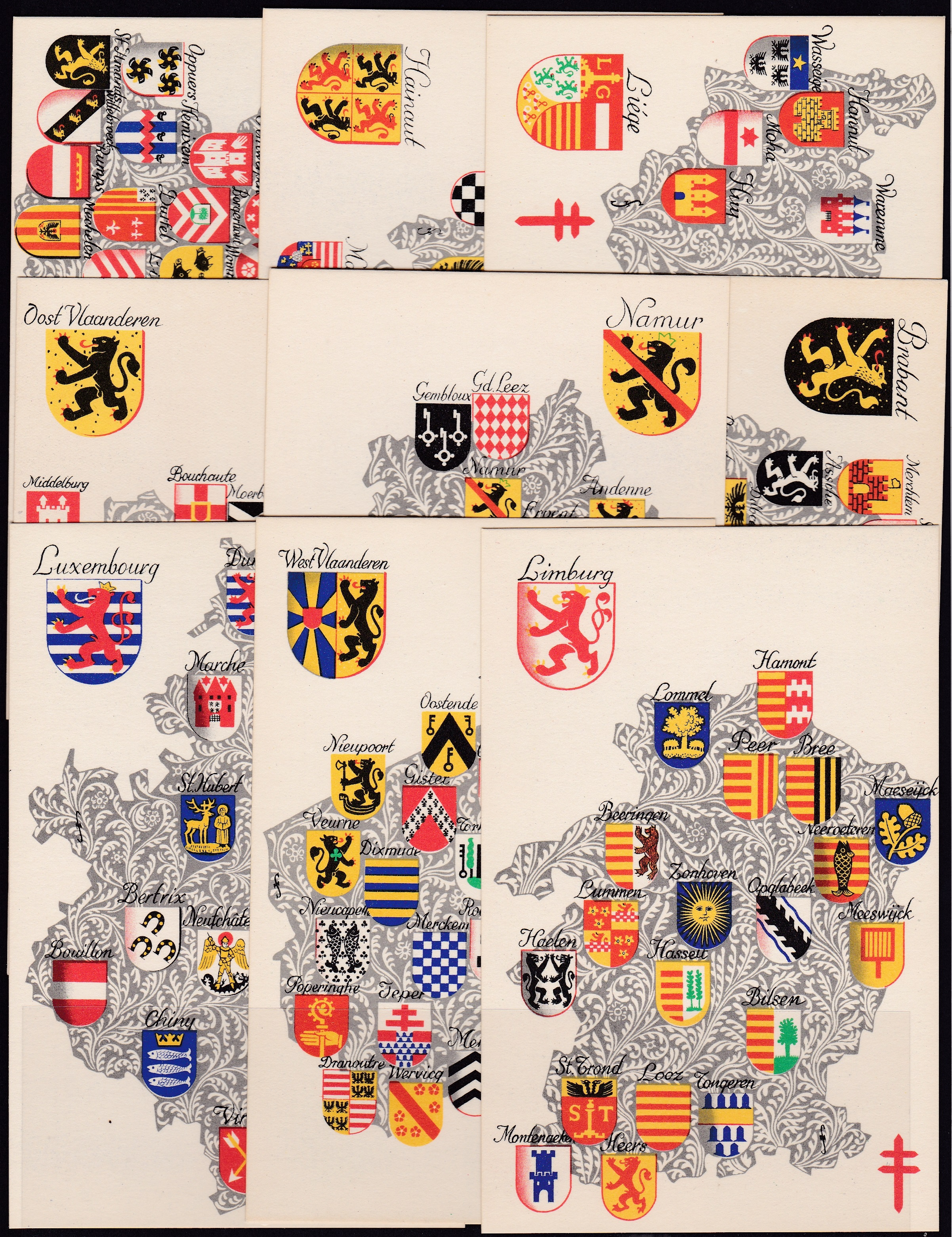 1945 Belgian Coats of Arms TB postcards