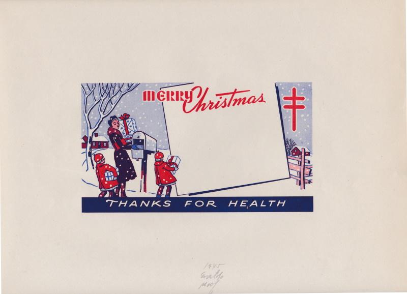 1945 Christmas Seal Booth Envelope Die Proof