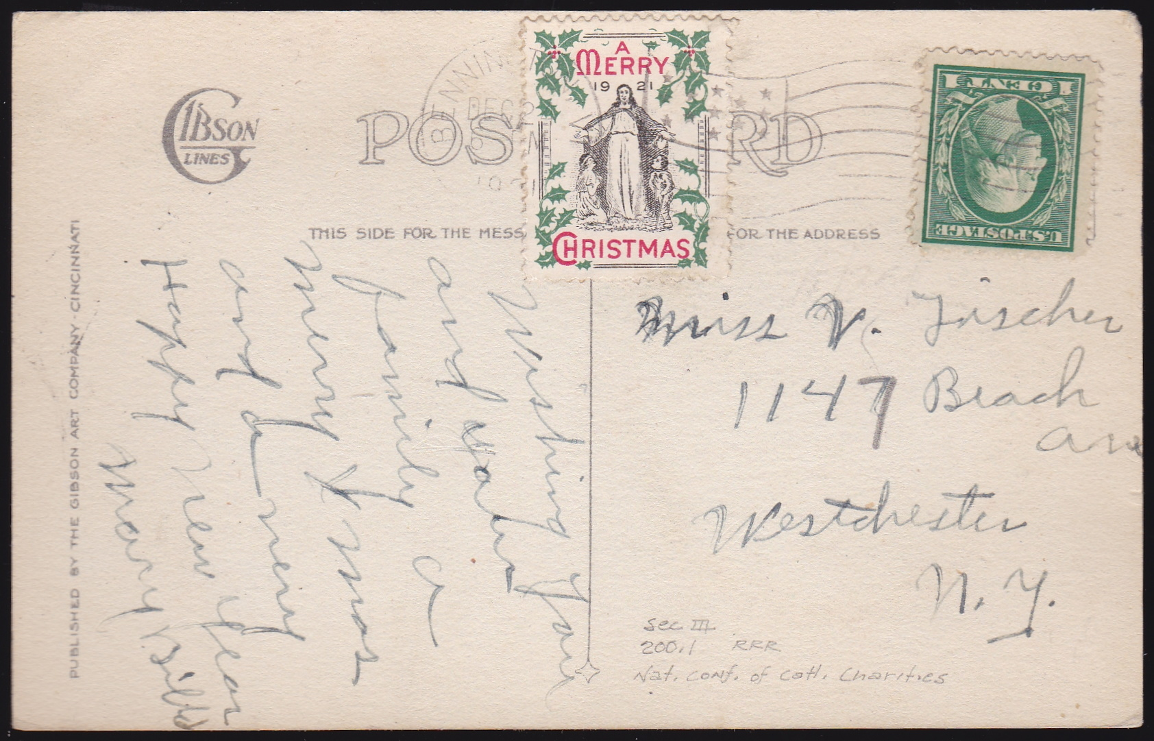 "Catholic Charities #1 1921 ""RRR"" Tied On"