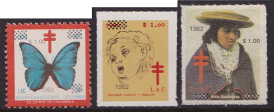 1982 Colombia TB Christmas Seals with overprints