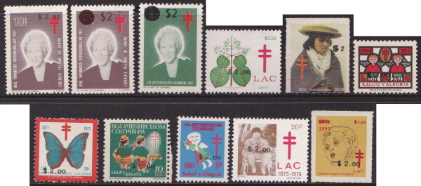 1984 Colombia TB Christmas Seals with overprints