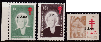 1985 Colombia TB Christmas Seals with overprints