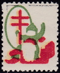 1920 Christmas Seal error, blue omitted