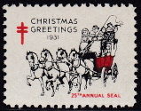 1931 Christmas Seal error, red & black only