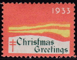 1933 Christmas seal error, black omitted