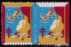1943 Christmas Seal error pair, buff, red & blue only