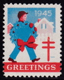 1945 Christmas Seal error, blue & red only