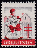 1945 Christmas Seal error, black & red only