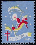 1946 Christmas Seal error, black omitted