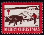 1947 Christmas Seal error, red & brown only