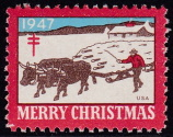 1947 Christmas Seal error, green omitted