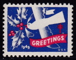 1949 Christmas Seal error, light blue & green omitted
