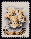 1950 Christmas Seal error, black & yellow only