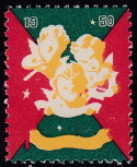 1950 Christmas seal error, black omitted