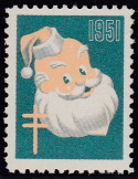 1951 Christmas seal error, red & black omitted