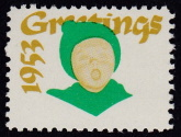 1953 Christmas seal error, green & gold only