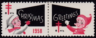 1958 Christmas seal error pair, red & black only