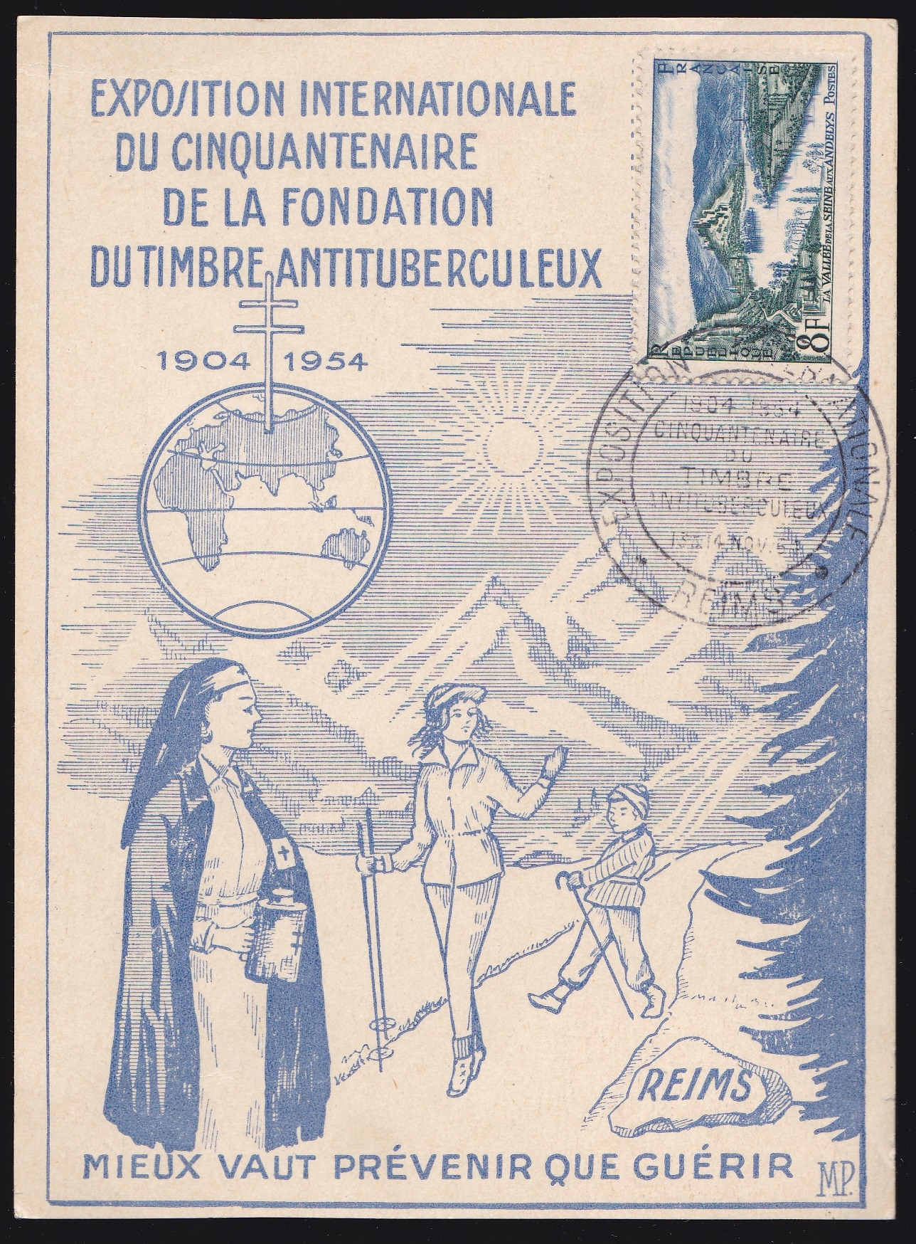 1954 French TB Event Postcard, blue