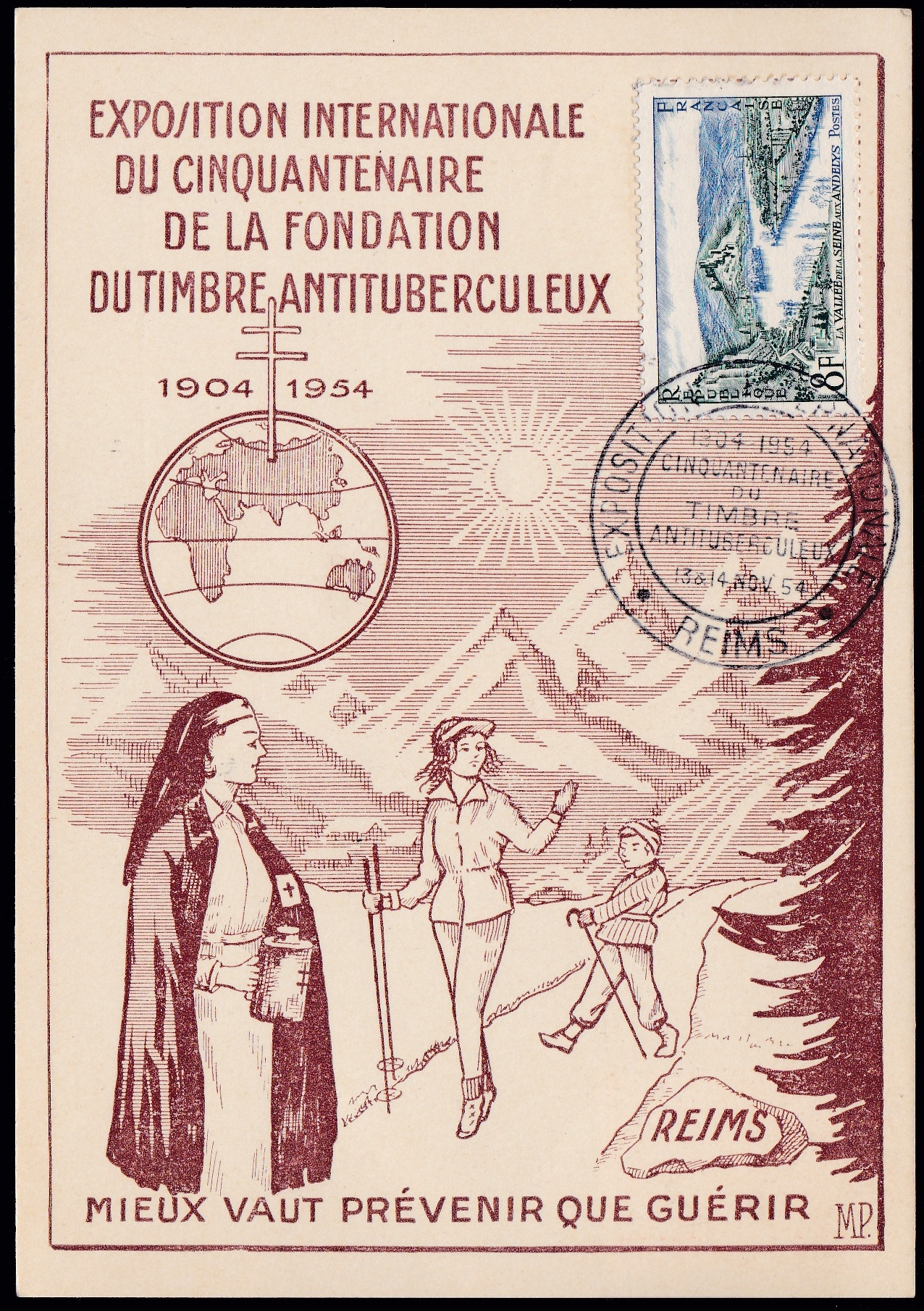 1954 French TB Event Postcard, brown