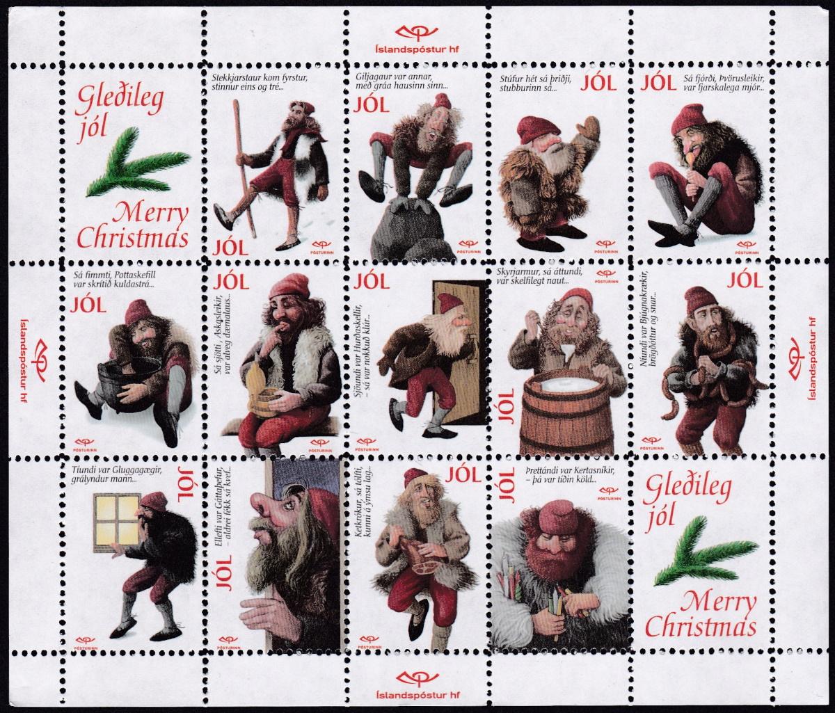 Iceland Christmas Seal Sheet