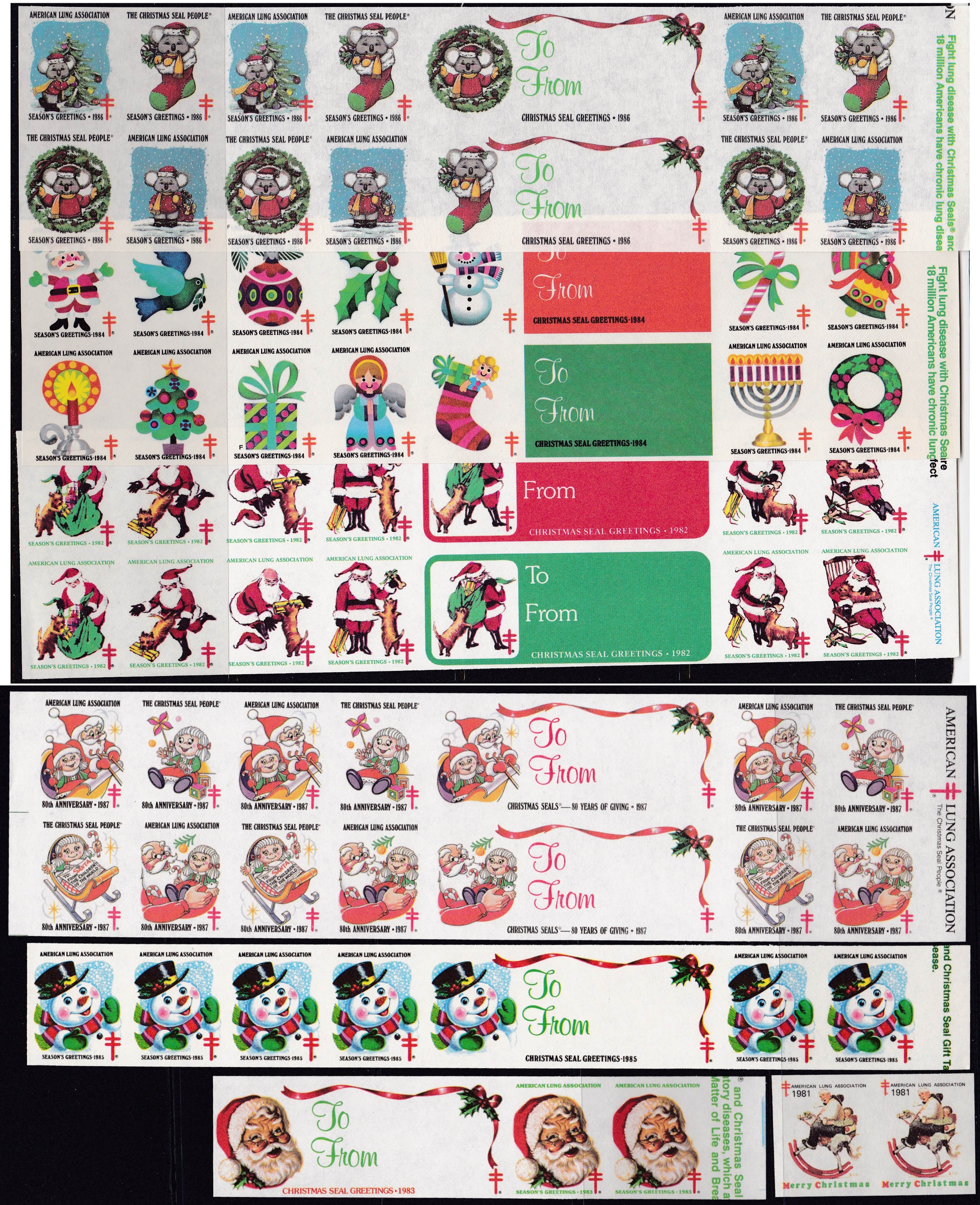 1981-87 Imperfroate US Christmas Seals