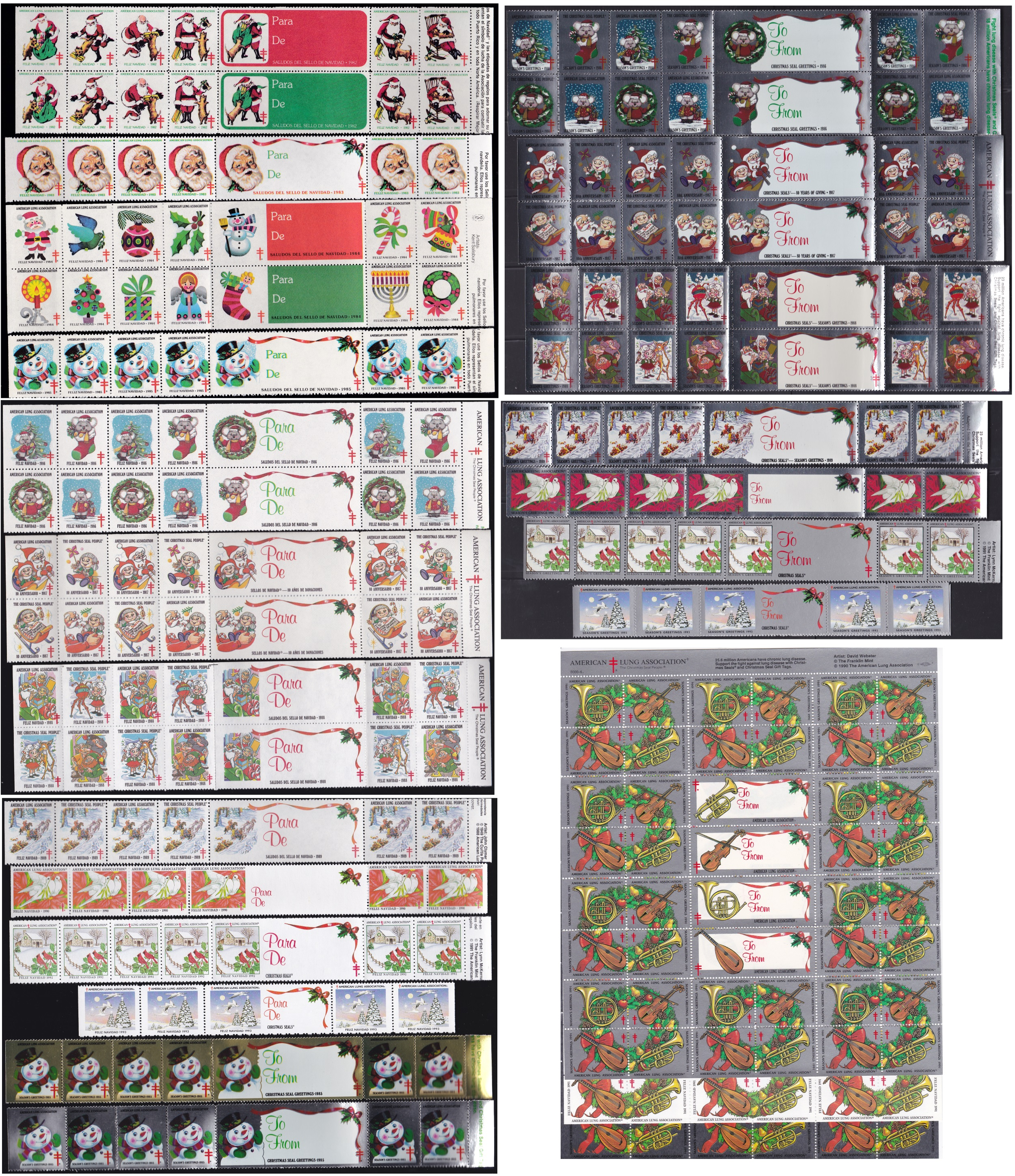 Spanish text & Foil Christmas Seals