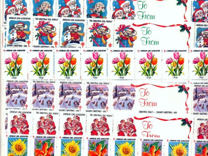 1980's ALA Christmas Seal Sheets