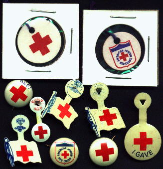 Red Cross, USA, Tags and Pins Set