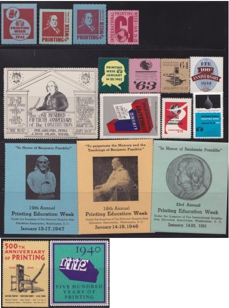 Advertising, 17 different printing related poster stamps