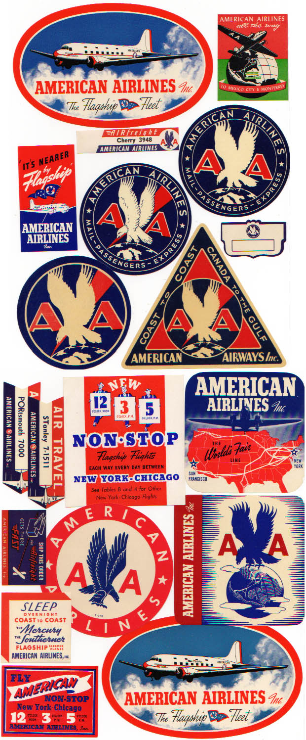 Air Baggage Labels, 19 Diff American Airlines