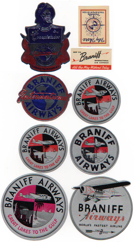Air Baggage Labels, 9 Diff Braniff