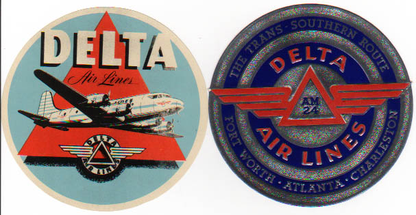Air Baggage Labels, 2 different Delta