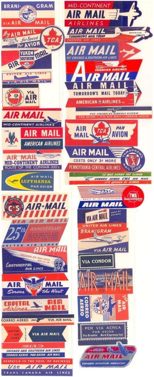Air - 35 different Airmail Etiquettes