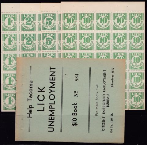 Tourism, Depression Era, Tacoma Unemployment Booklet