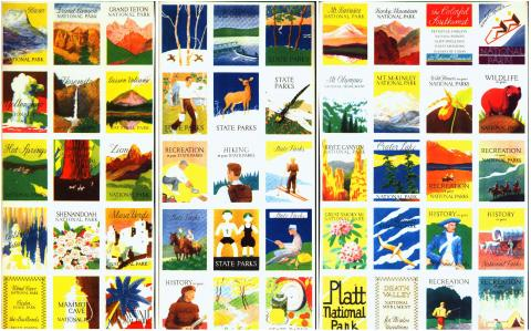 Tourism, State and National Park Poster Stamp Set of 50