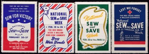 "Patriotic, WW2 Era ""Sew and Save"" Poster Stamp Set"