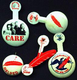 Patriotic, Set of 5 Red Feather Community Fund Pins