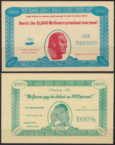 People and Politicians, George McGovern $1000 Promissory Note (Front & Back)