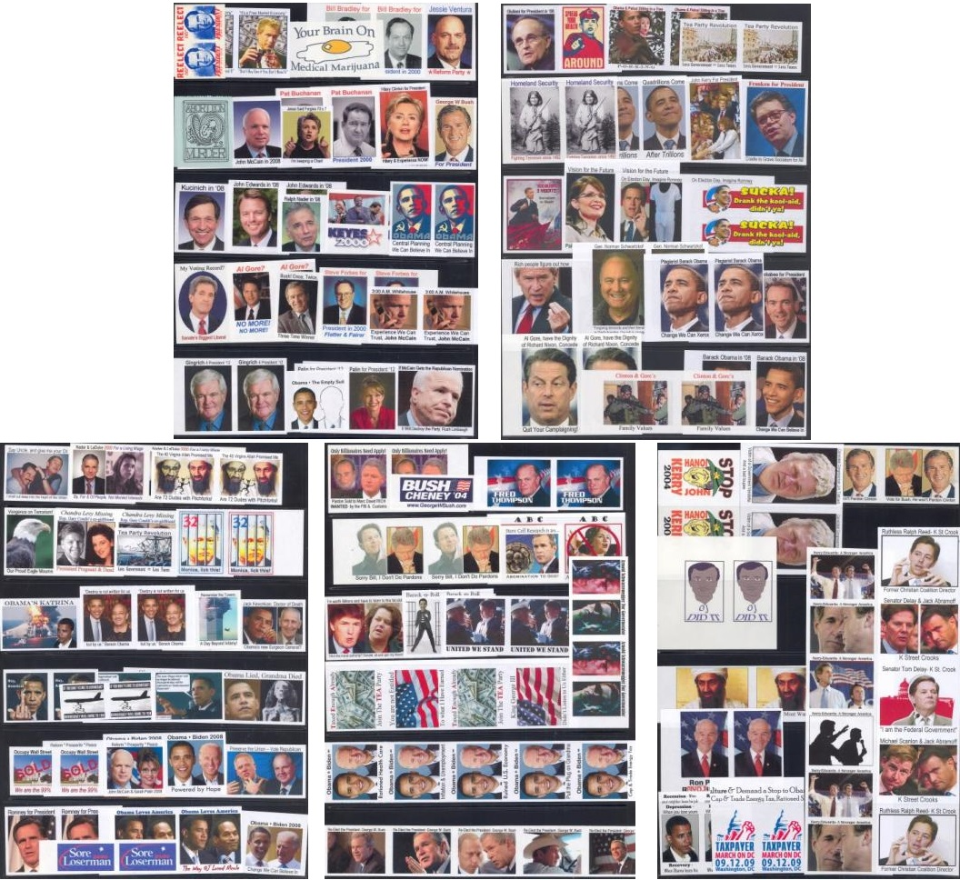 People and Politicians, 192 Modern Political Poster Stamps, Guaranteed to Offend