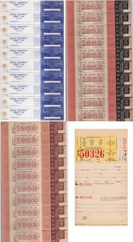 Revenues and Reprints, 1951-2 Utah Deer Tag Sheet Set +