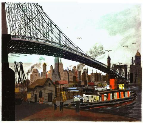 Posters, Original serigraph (silk screen) of the Brooklyn Bridge