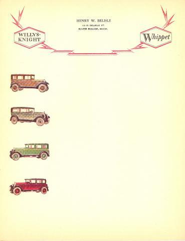 Transportation, 1920's? Willys-Knight & Whippet Auto Dealer Letterhead