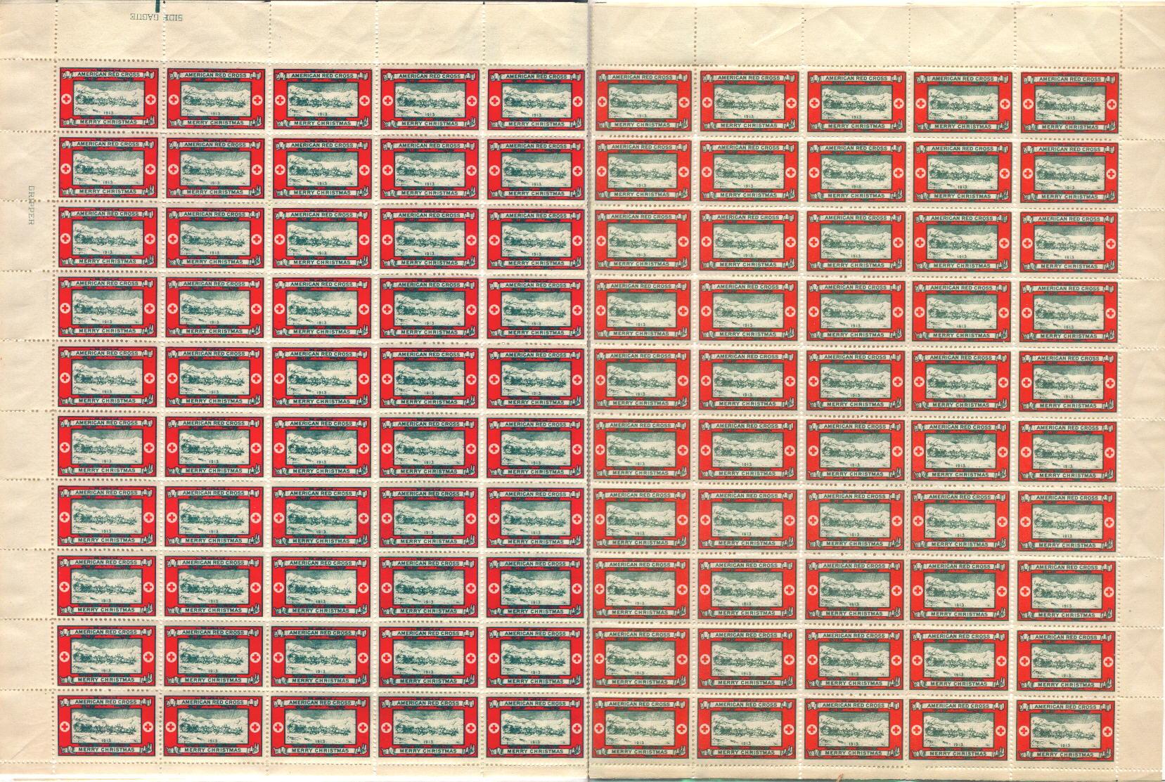 1913 Type 3 Christmas Seal Sheet, No Gum