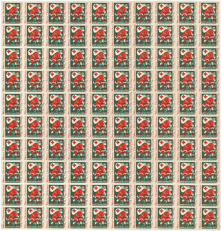 1916 US Christmas Seal Sheet, No Gum