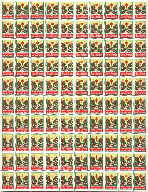 1925 US Christmas Seal Sheet