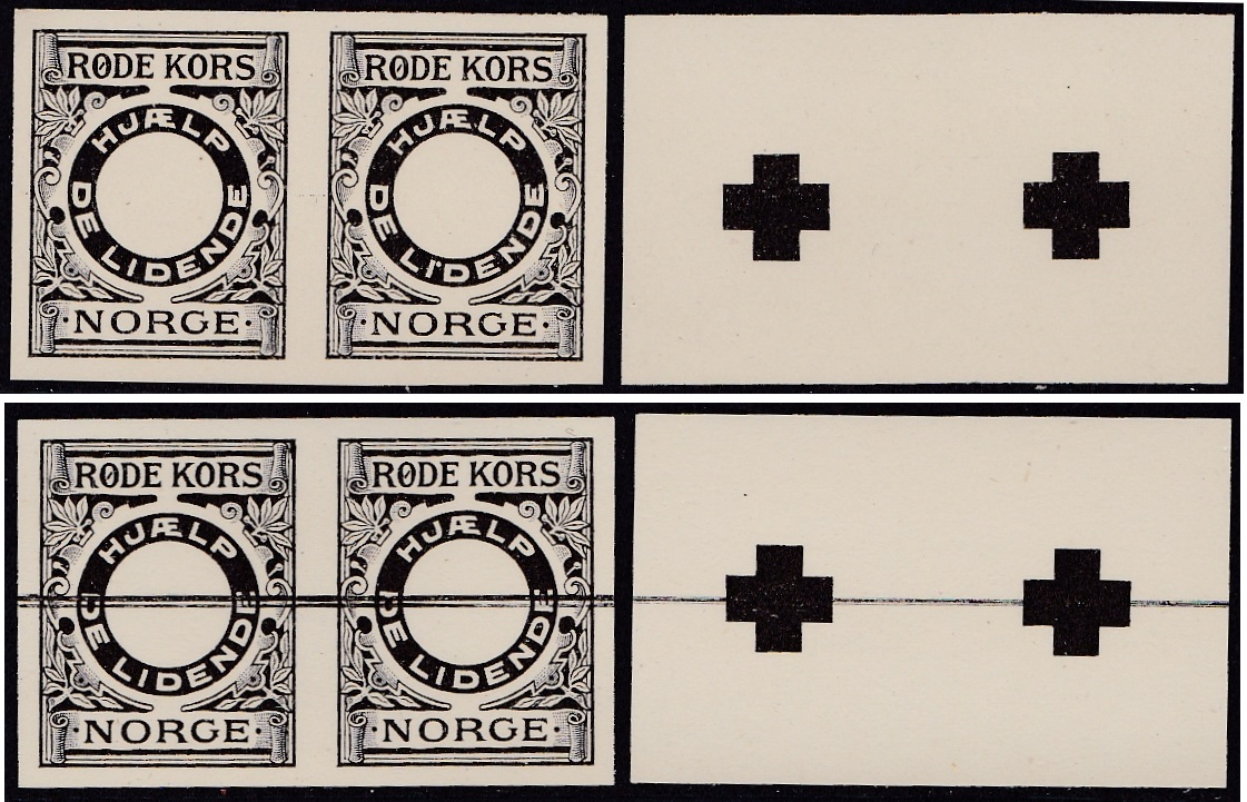 Norway Red Cross #1p, 1911 Set of 4 Imperforate Pairs