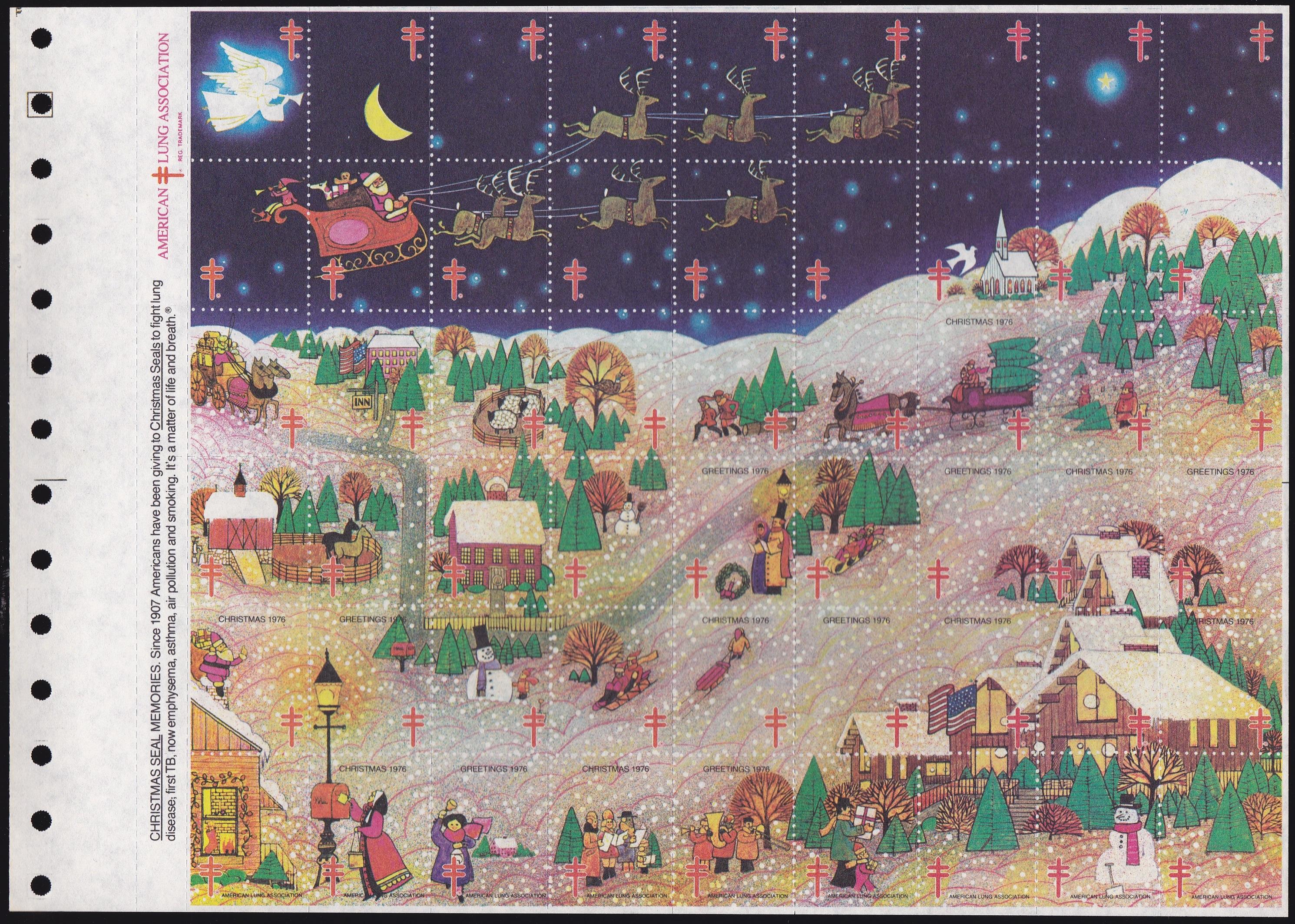 1976 Experimental Christmas Seal Sheet
