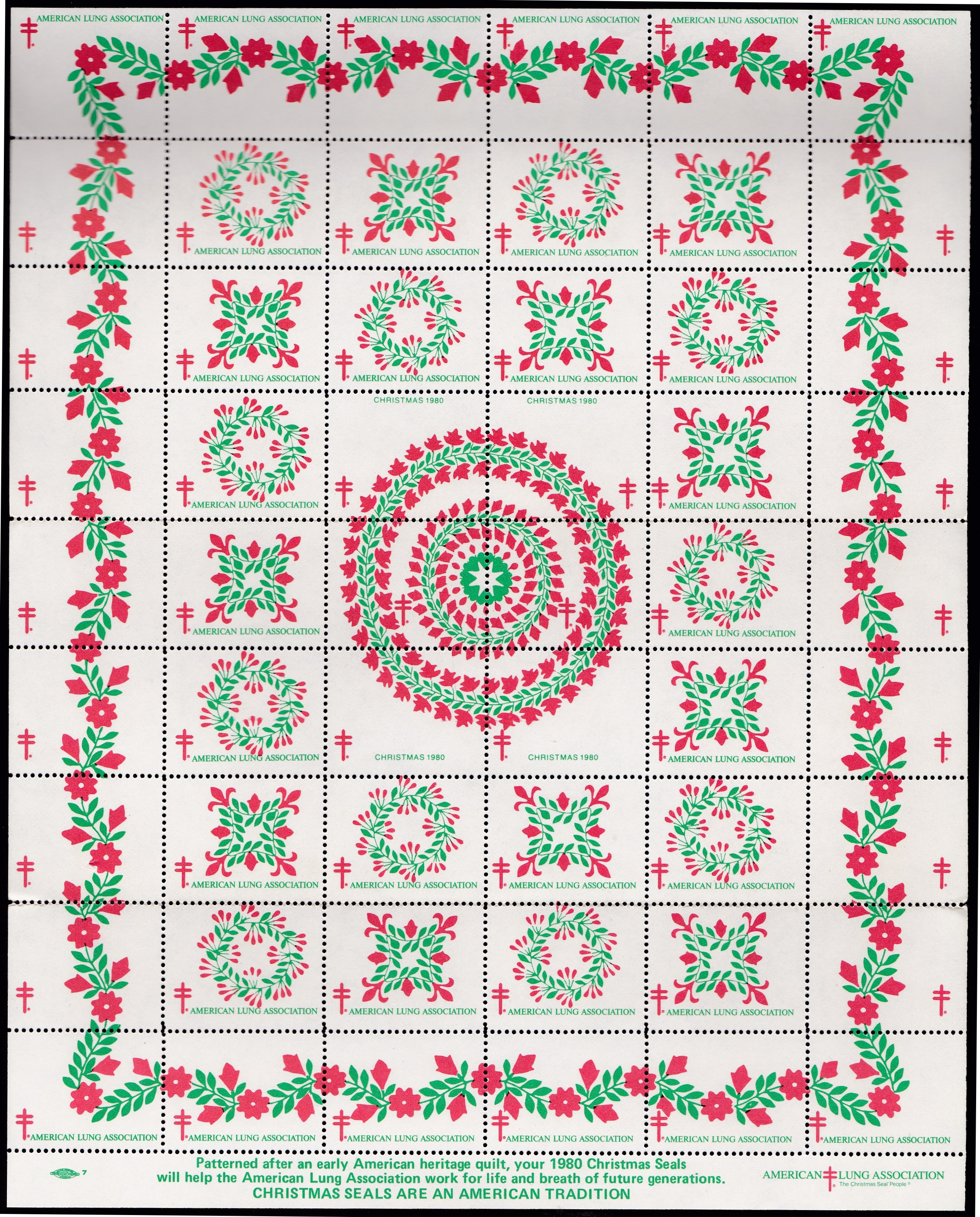 1980 Christmas Seal Quilt Design Experiment